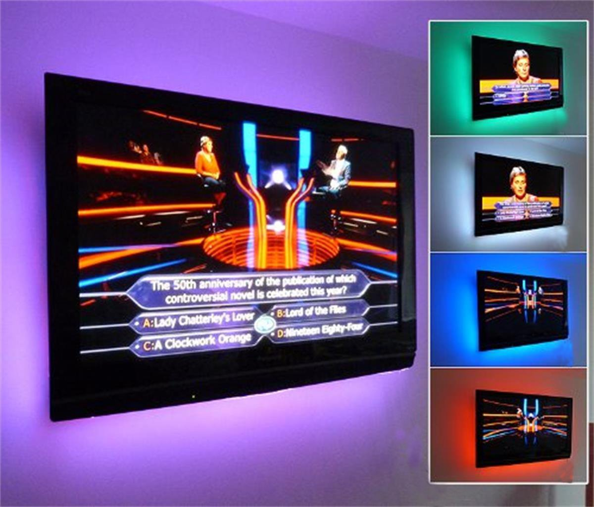 tv accent lighting. 44-key Remote Controlled RGB USB Powered 200cm LED TV Ambient Mood Backlight Bias Lighting 4 Strips Tv Accent C