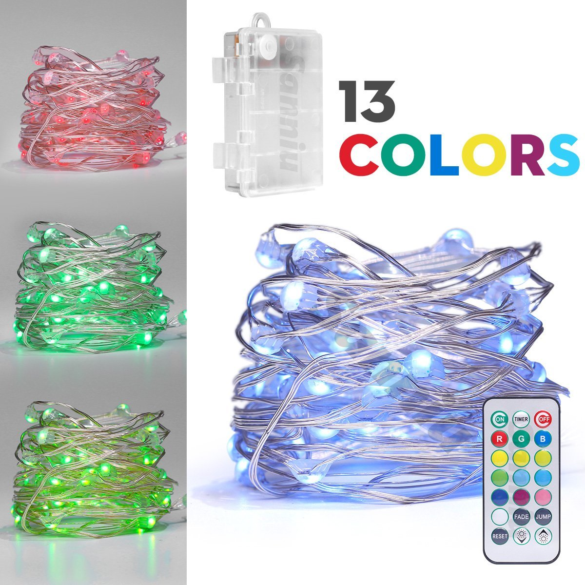 Fairydecor Led String Lights Battery Powered Multi Colour Changing Outdoor Wiring For Christmas Fairy With Remote 50 Leds Indoor Decorative Silver Wire Bedroom Patio Garden Stroller Tree 16ft